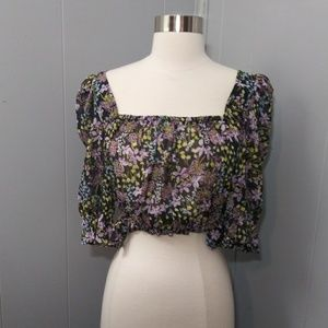 NWT Purple/Black Floral Sheer Crop Top
